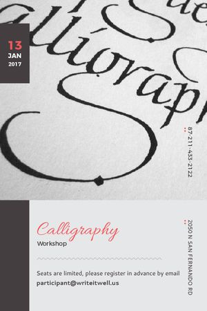 Ontwerpsjabloon van Tumblr van Calligraphy Workshop Announcement Decorative Letters
