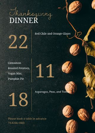 Plantilla de diseño de Thanksgiving Dinner invitation with walnuts Invitation