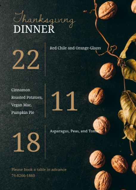 Thanksgiving Dinner invitation with walnuts Invitation – шаблон для дизайну