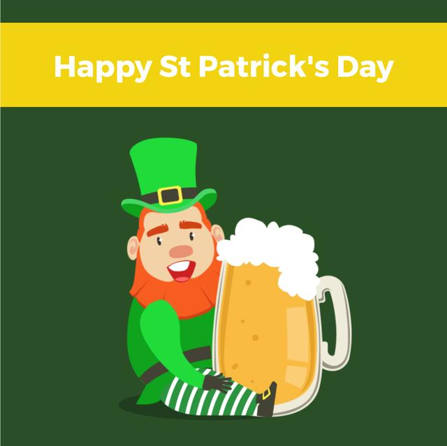 Saint Patrick's leprechaun with Beer Animated Post Modelo de Design