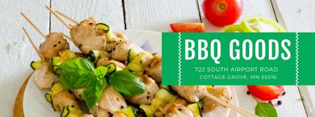 Plantilla de diseño de BBQ Food Offer with Grilled Chicken on Skewers Facebook cover