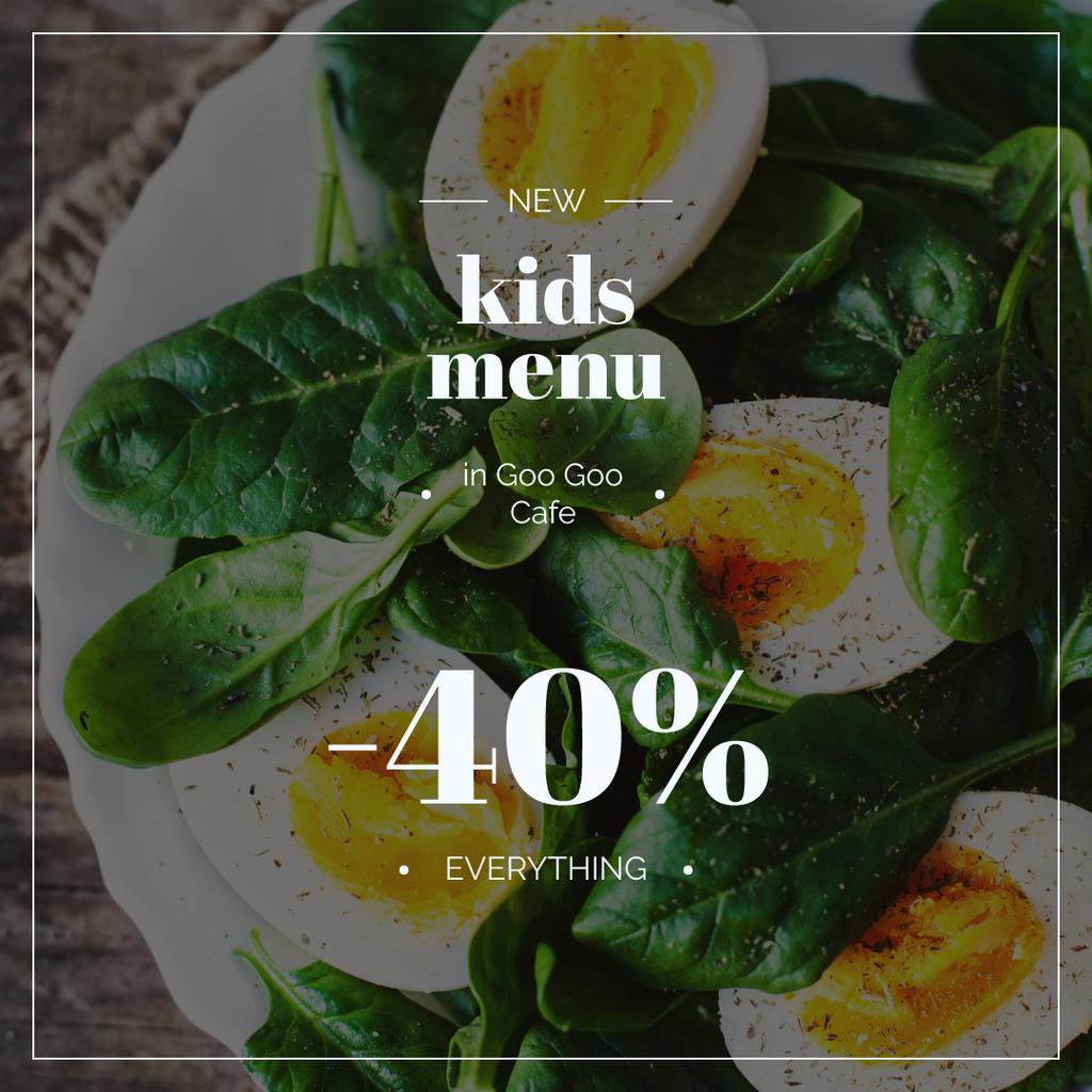 Kids Menu Offer Boiled Eggs with Spinach | Instagram Ad Template — Створити дизайн