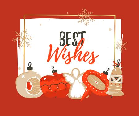 Template di design Best Wishes and Christmas decor Facebook