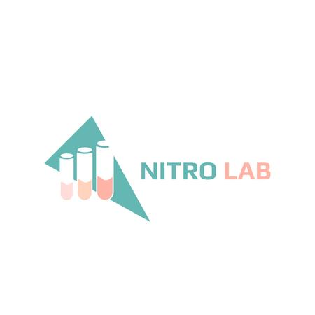 Plantilla de diseño de Laboratory Equipment with Test Tubes Icon Logo