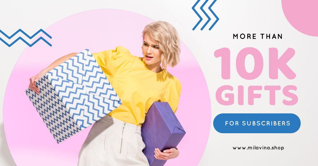 Blog Promotion Woman Holding Presents — Створити дизайн