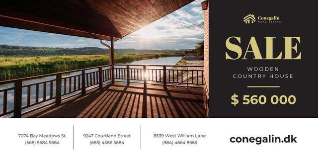 Plantilla de diseño de Real Estate Ad with House on River Bank Twitter