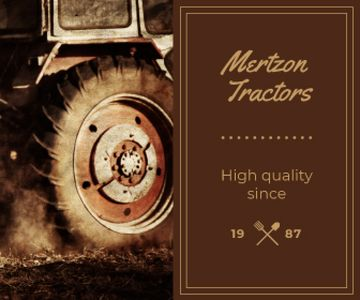 Tractor Working in Field | Large Rectangle Template