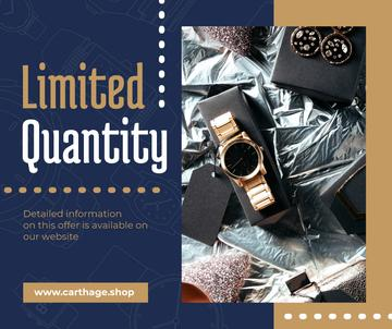 Luxury Accessories Ad with Golden Watch | Facebook Post Template