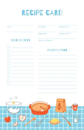 Dish Ingredients on Blue Tablecloth Recipe Card Modelo de Design