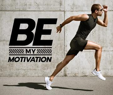 Sporty young man with motivational quote
