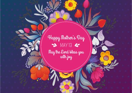 Plantilla de diseño de Mother's Day Greeting on Floral Circle Postcard