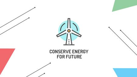 Conserve Energy Wind Turbine Icon Title Tasarım Şablonu