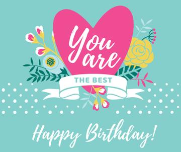Happy Birthday Greeting Heart and Flowers | Facebook Post Template