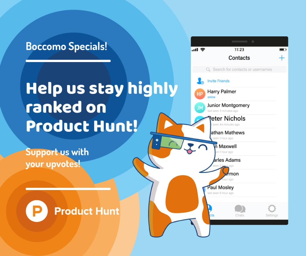 Plantilla de diseño de Product Hunt Campaign Chats Page on Screen Facebook