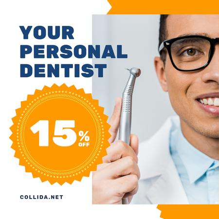 Ontwerpsjabloon van Instagram AD van Dentistry Promotion Dentist with Equipment