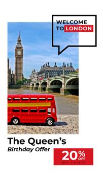 Queen's Birthday Tour Offer London City View | Vertical Video Template
