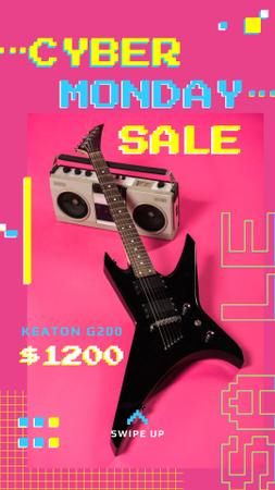Ontwerpsjabloon van Instagram Story van Cyber Monday Sale Electric Guitar in Pink