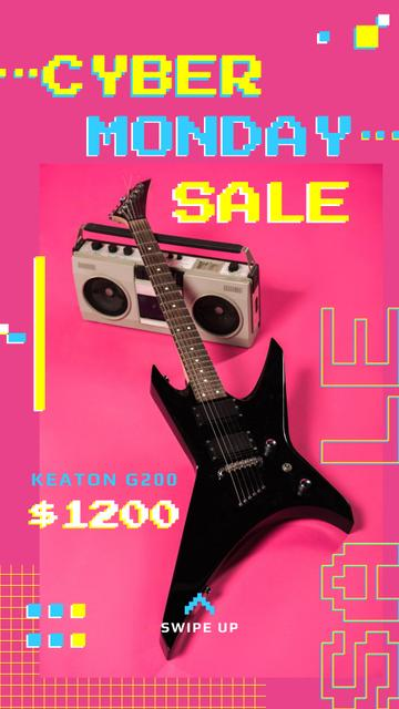 Template di design Cyber Monday Sale Electric Guitar in Pink Instagram Story