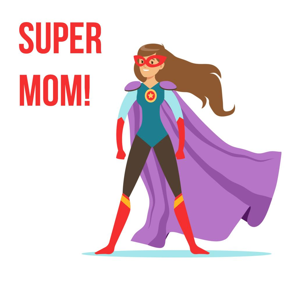 Superwoman with cape flying up on Mothers Day — Create a Design