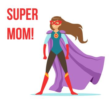 Superwoman with cape flying up on Mothers Day