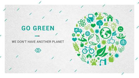 Plantilla de diseño de Ecology Concept with green Nature icons Title