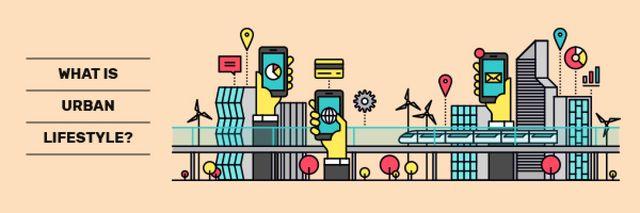 Plantilla de diseño de Smart City Icons Email header