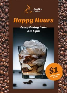Coffee Shop Happy Hours Iced Latte in Glass | Flyer Template