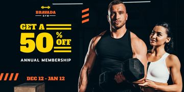 Gym Offer with Man Training with Coach