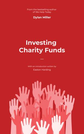 Charity Fund Hands Raised in the Air in Red Book Cover Modelo de Design
