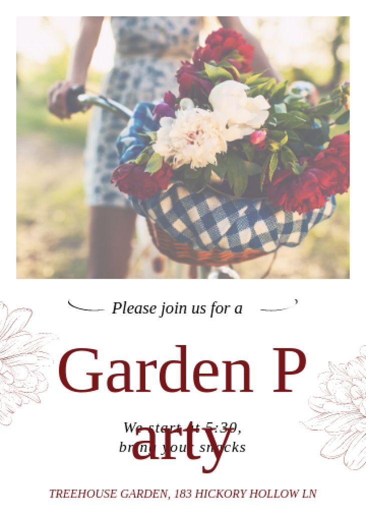 Plantilla de diseño de Girl riding bicycle with flowers at Garden Party Invitation