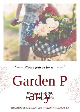 Template di design Girl riding bicycle with flowers at Garden Party Invitation