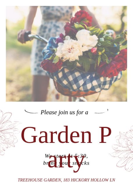 Modèle de visuel Girl riding bicycle with flowers at Garden Party - Invitation