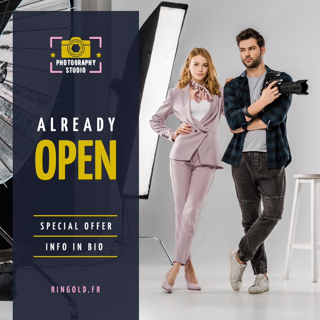 Studio Photography Offer Couple with Camera — Create a Design