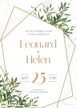 Wedding Invitation Elegant Floral Frame | Invitation Template
