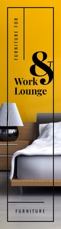 Modèle de visuel Furniture Ad Cozy Bedroom Interior in Yellow - Skyscraper