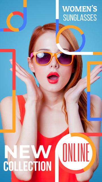 Plantilla de diseño de Accessories Sale Surprised Young Girl in Sunglasses Instagram Video Story