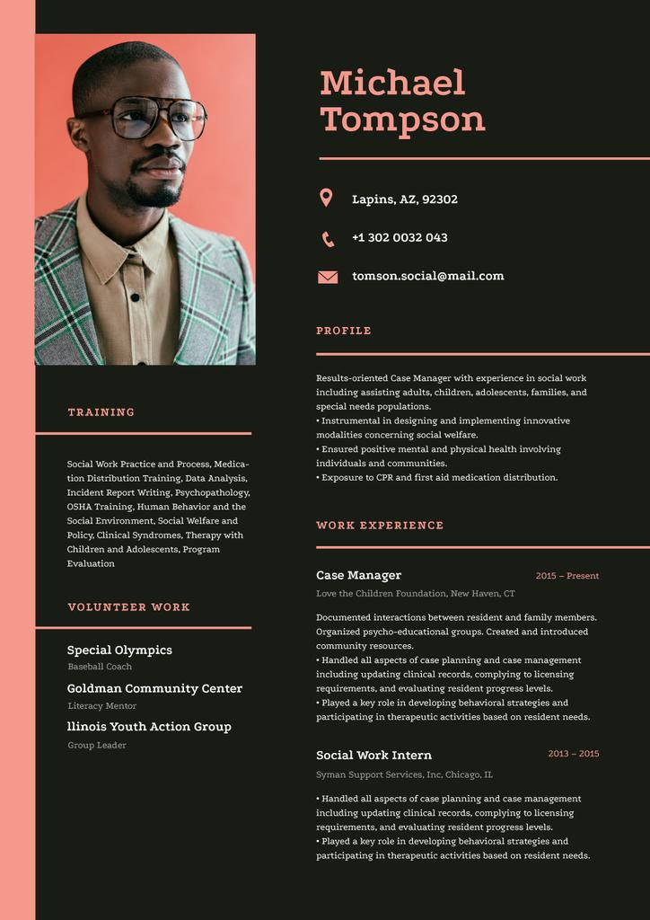 Template di design Social worker skills and experience Resume