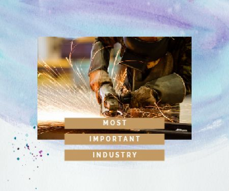Plantilla de diseño de Welding Industry Man Cutting Metal Medium Rectangle