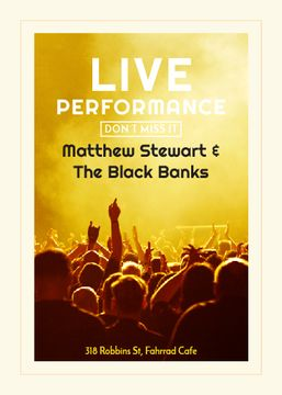 Band live performance poster in yellow tones with cheerful audience