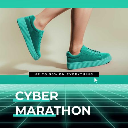Template di design Cyber Monday Sale with Sneakers in Turquoise Animated Post