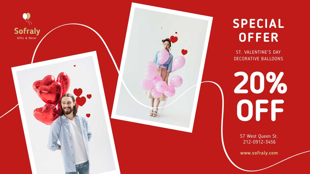 Valentine's Day Couple with Balloons in Red — Modelo de projeto