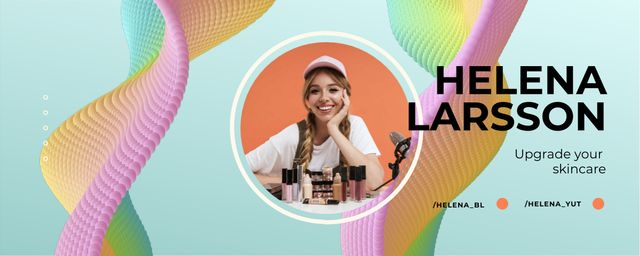Beauty Blog Ad with Smiling Girl Twitch Profile Banner – шаблон для дизайна