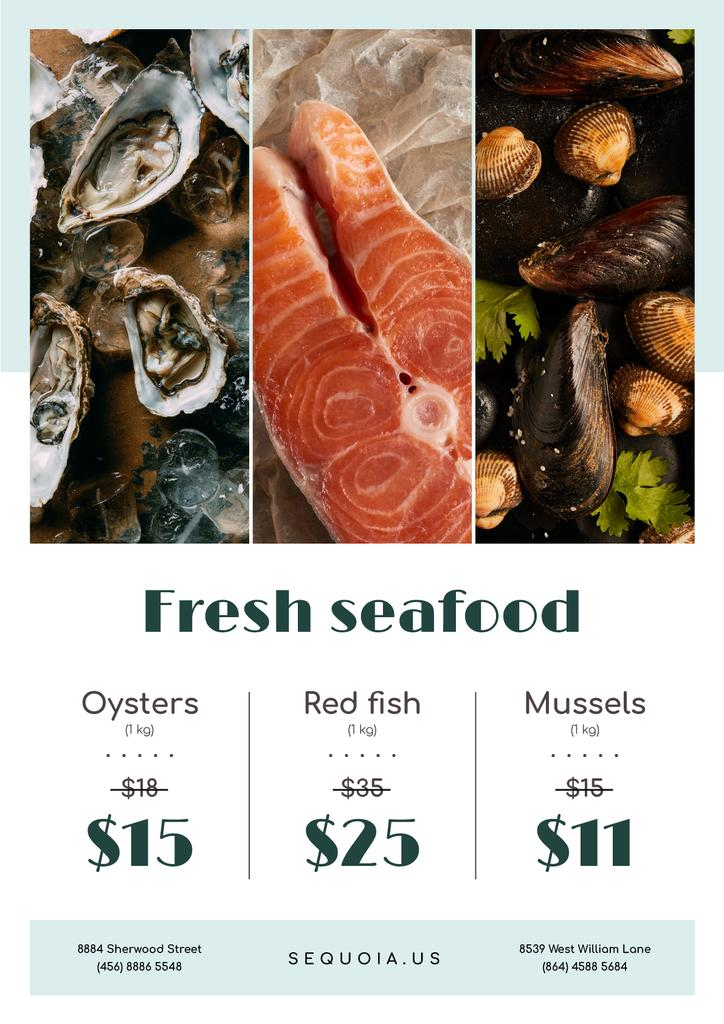 Seafood Offer Fresh Salmon and Mollusks — Crear un diseño