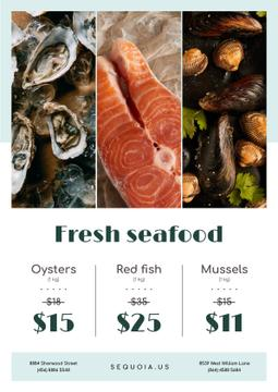 Seafood Offer Fresh Salmon and Mollusks