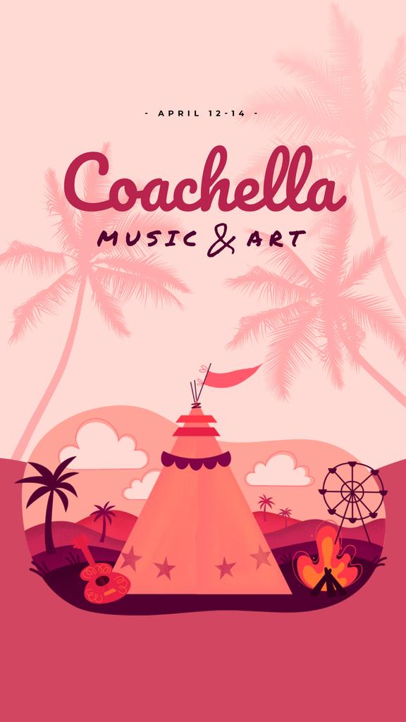 Coachella Invitation Girl in Festival Tent | Vertical Video Template — Crear un diseño