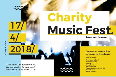 Ontwerpsjabloon van Gift Certificate van Charity Music Fest Announcement
