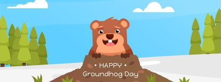 Cute funny animal on Groundhog Day Facebook Video cover Design Template