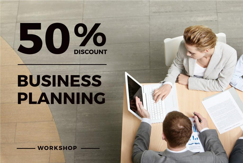 Business Planning Workshop with People Working on Laptops — Create a Design