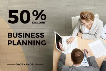 Business Planning Workshop People Working on Laptops | Gift Certificate Template