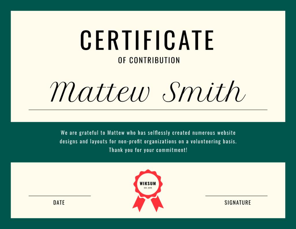 Charity work Contribution gratitude Certificate Modelo de Design